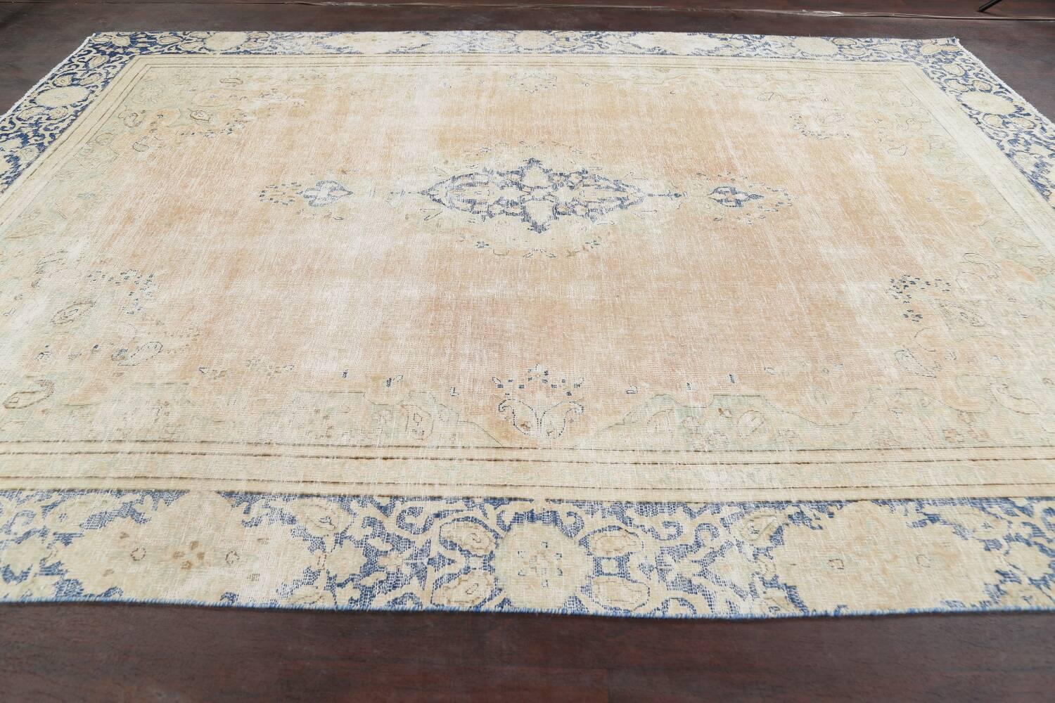 Muted Distressed Kerman Persian Area Rug 8x12 image 14