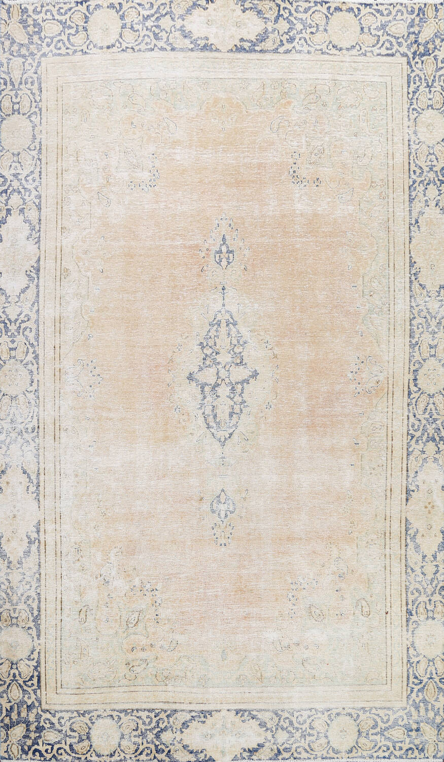 Muted Distressed Kerman Persian Area Rug 8x12 image 1