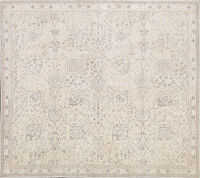 Floral Muted Tabriz Persian Area Rug 7x7 Square
