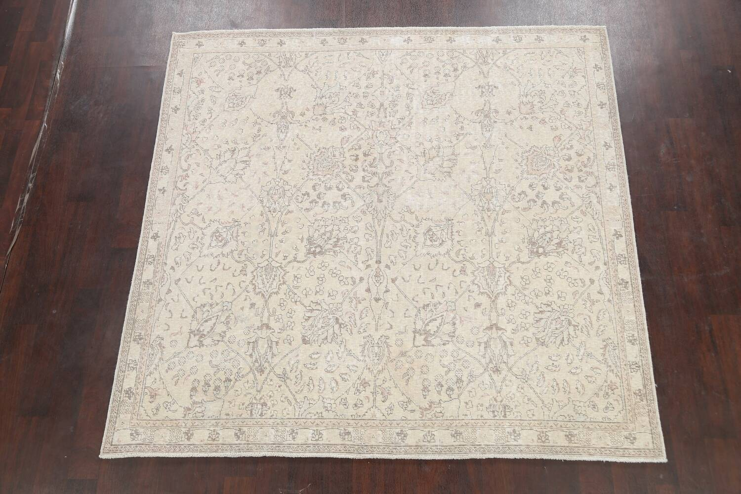 Floral Muted Tabriz Persian Area Rug 7x7 Square image 2