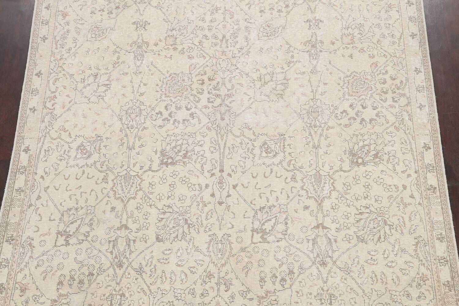 Floral Muted Tabriz Persian Area Rug 7x7 Square image 3