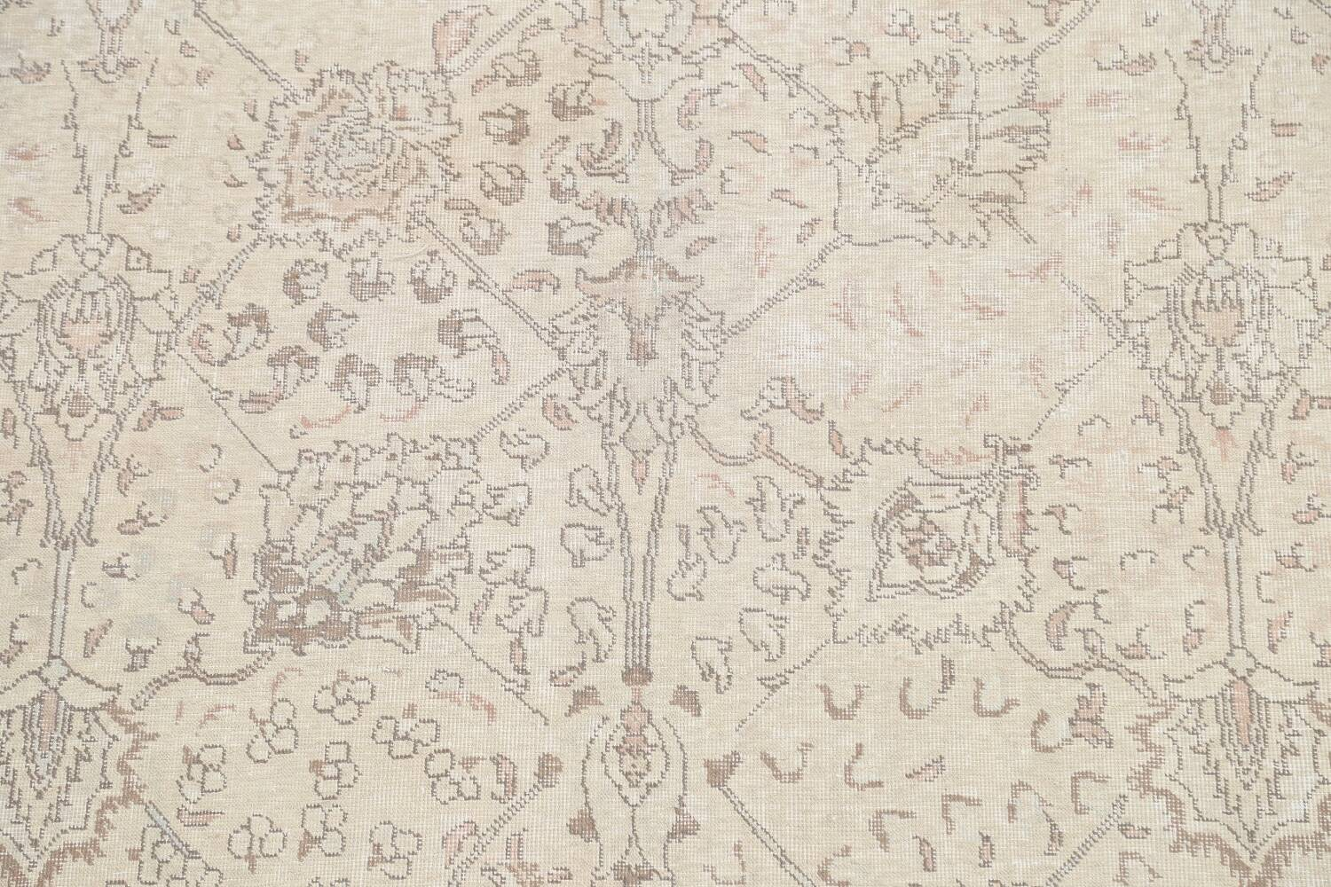 Floral Muted Tabriz Persian Area Rug 7x7 Square image 4