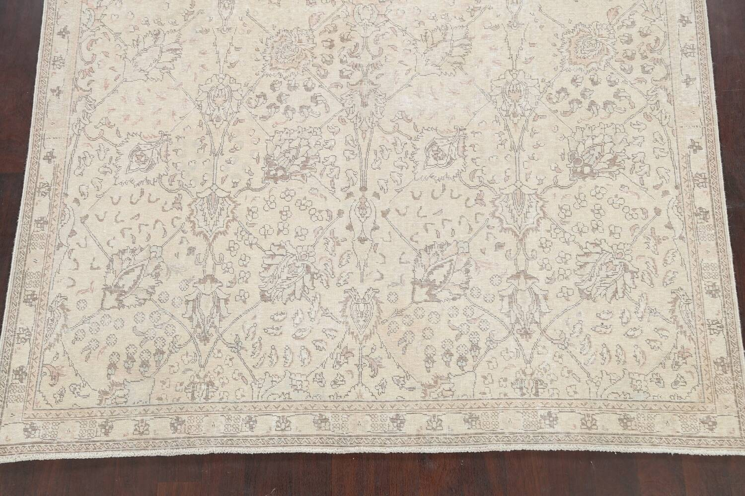 Floral Muted Tabriz Persian Area Rug 7x7 Square image 8