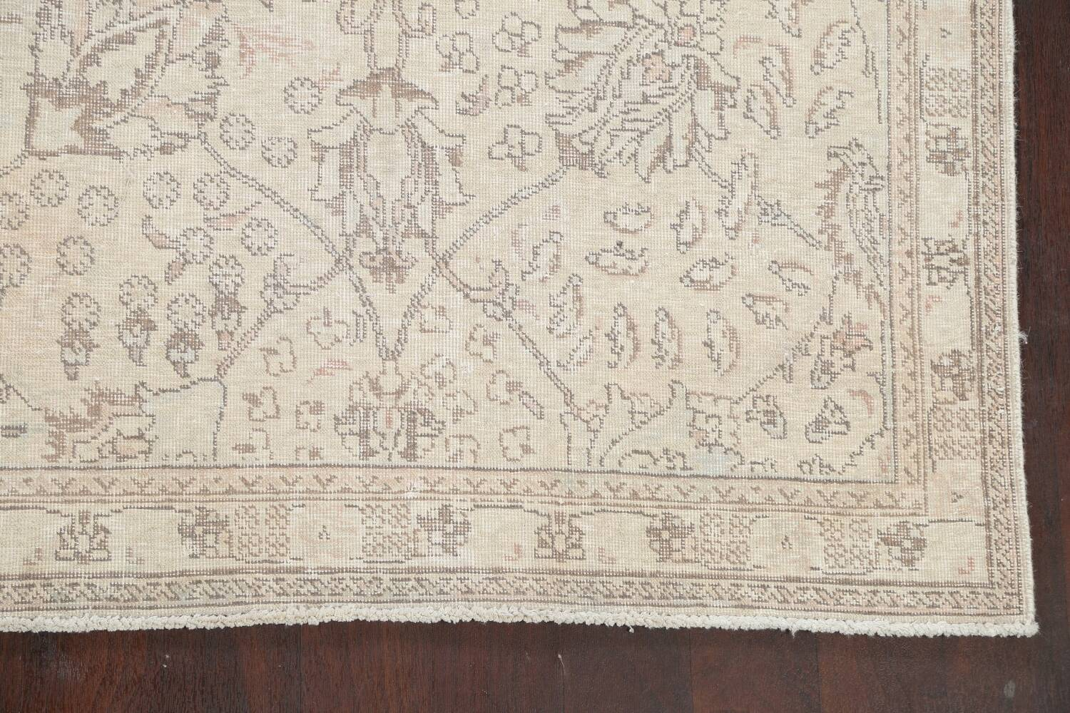 Floral Muted Tabriz Persian Area Rug 7x7 Square image 5
