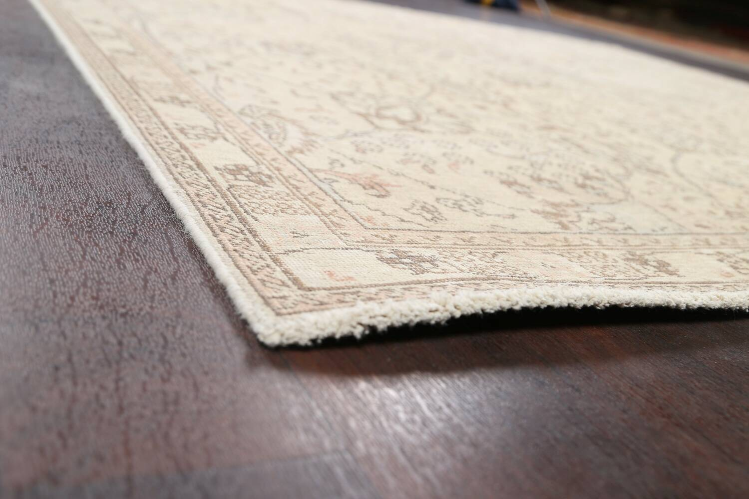 Floral Muted Tabriz Persian Area Rug 7x7 Square image 6