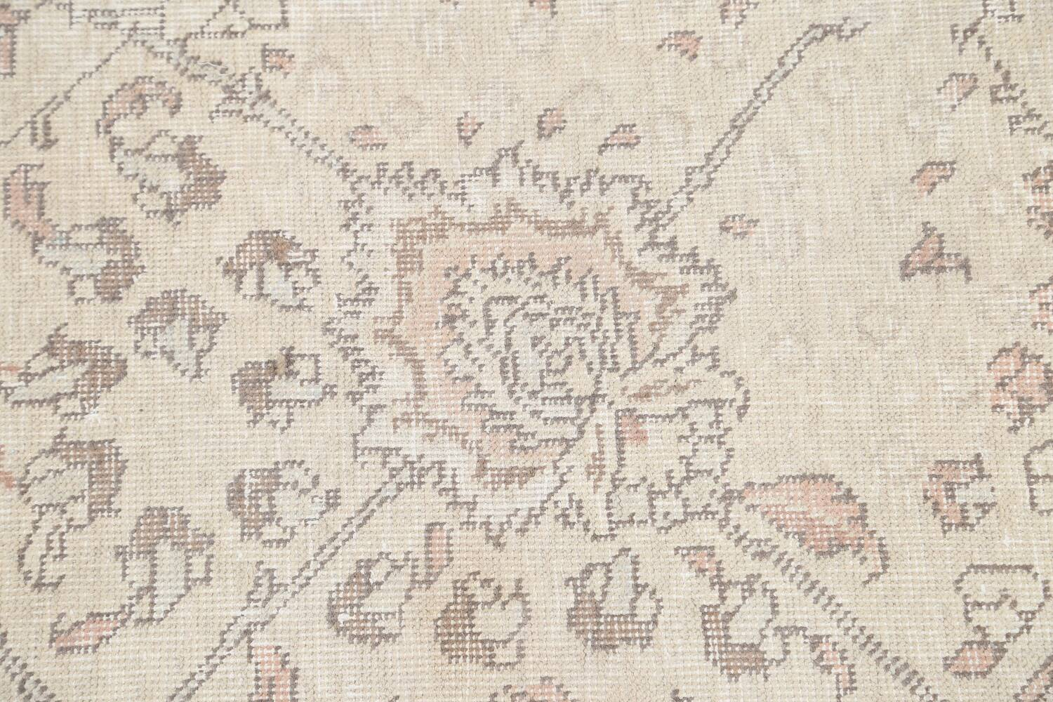 Floral Muted Tabriz Persian Area Rug 7x7 Square image 9