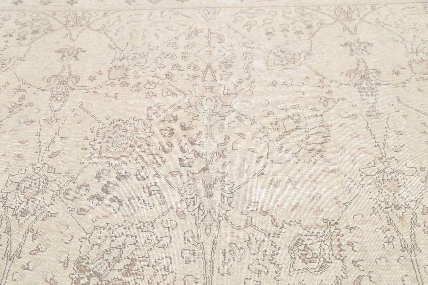 Floral Muted Tabriz Persian Area Rug 7x7 Square image 11