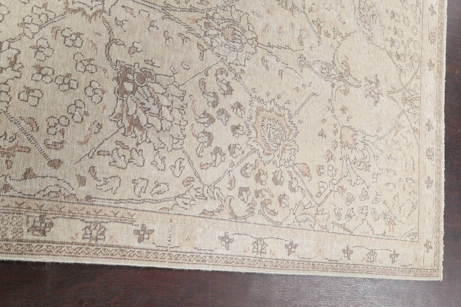 Floral Muted Tabriz Persian Area Rug 7x7 Square image 12