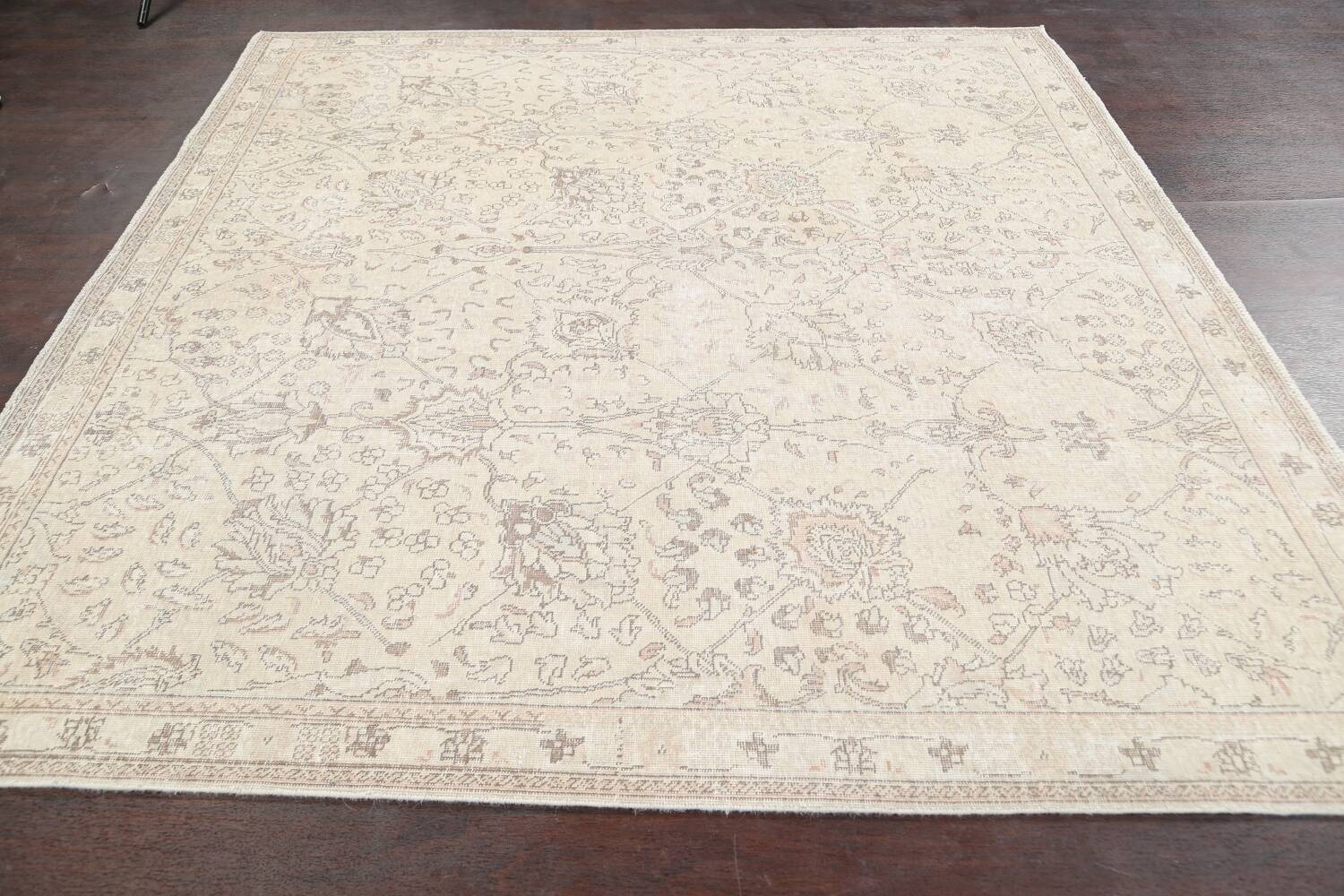 Floral Muted Tabriz Persian Area Rug 7x7 Square image 13