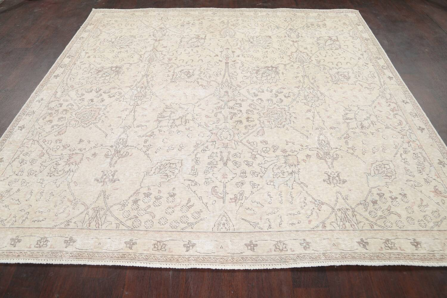 Floral Muted Tabriz Persian Area Rug 7x7 Square image 14