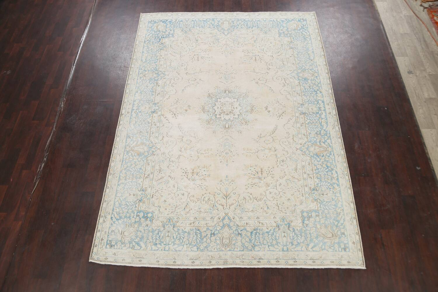 Muted Floral Kerman Persian Area Rug 7x10 image 2