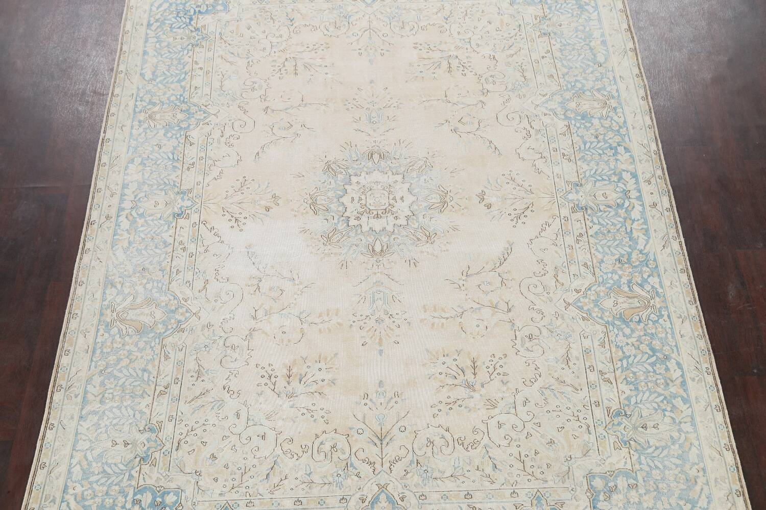 Muted Floral Kerman Persian Area Rug 7x10 image 3