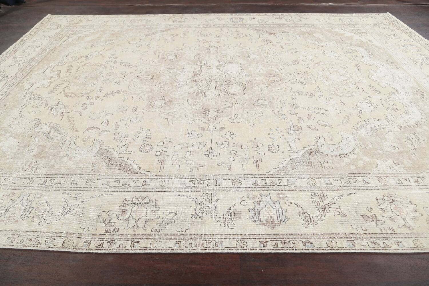 Muted Distressed Tabriz Persian Area Rug 9x12 image 16