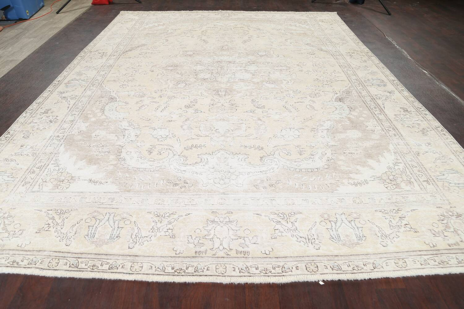 Muted Distressed Tabriz Persian Area Rug 9x12 image 17