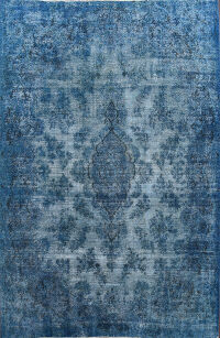Over-dye Floral Kashan Persian Area Rug 9x11