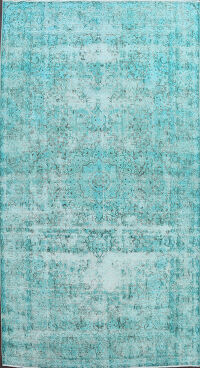 Distressed Over-Dyed Tabriz Persian Area Rug 7x11