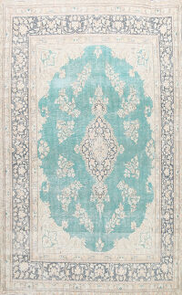 Muted Distressed Floral Kerman Persian Area Rug 8x11