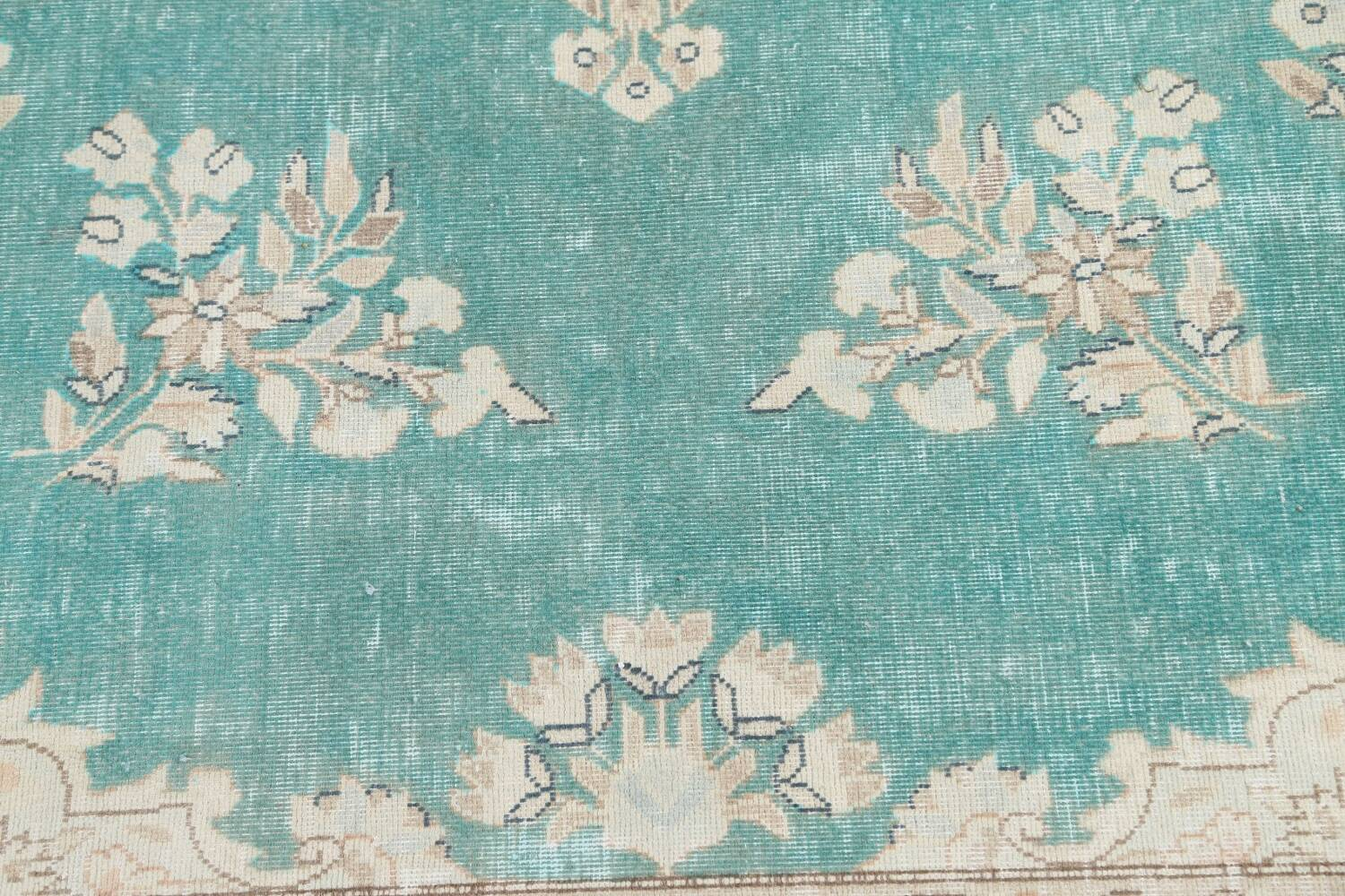 Muted Distressed Floral Kerman Persian Area Rug 8x11 image 9