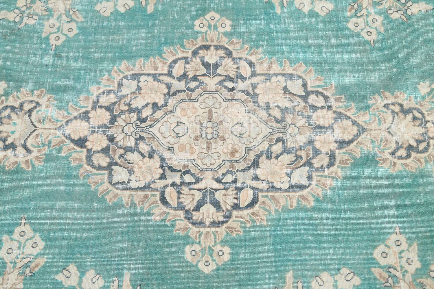 Muted Distressed Floral Kerman Persian Area Rug 8x11 image 10
