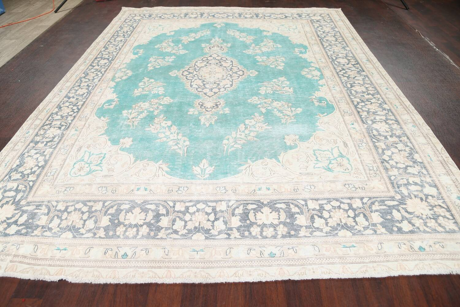 Muted Distressed Floral Kerman Persian Area Rug 8x11 image 14