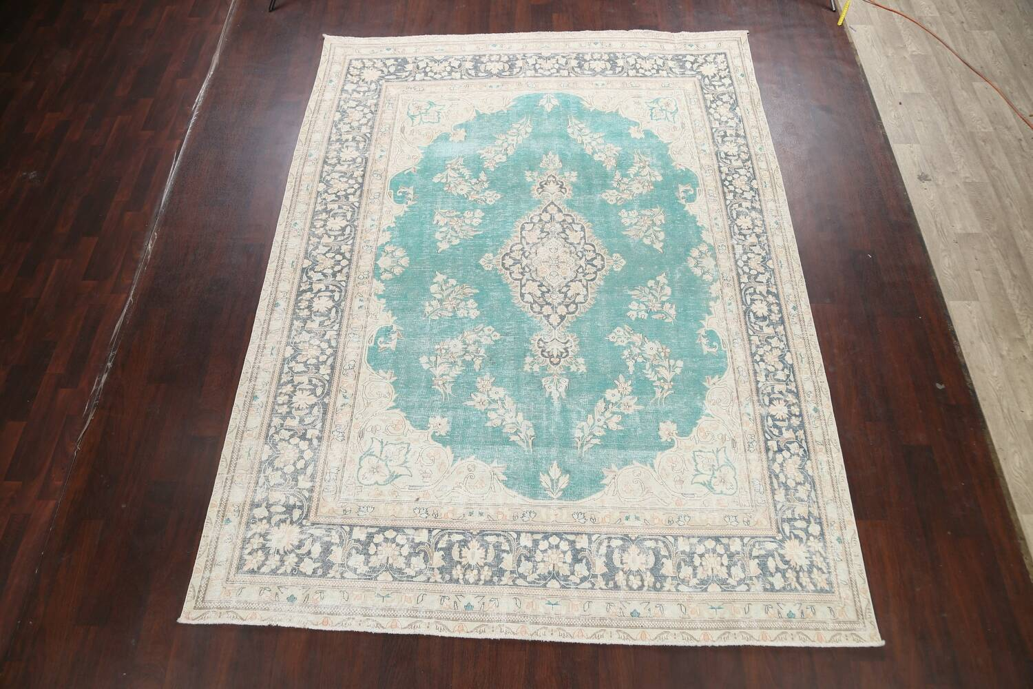 Muted Distressed Floral Kerman Persian Area Rug 8x11 image 2
