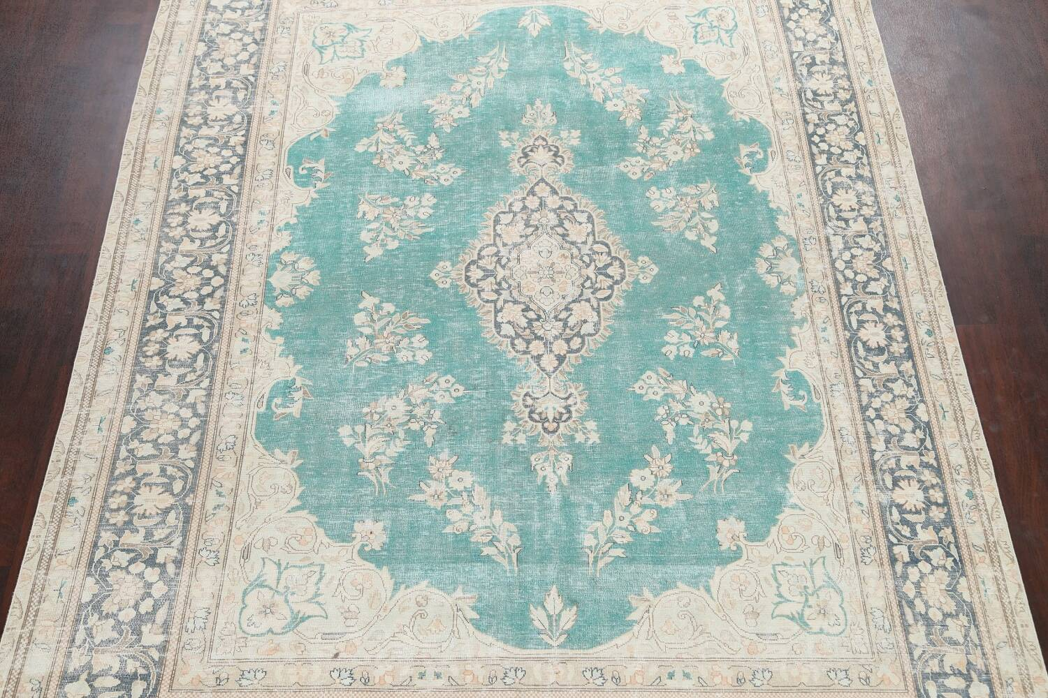 Muted Distressed Floral Kerman Persian Area Rug 8x11 image 3