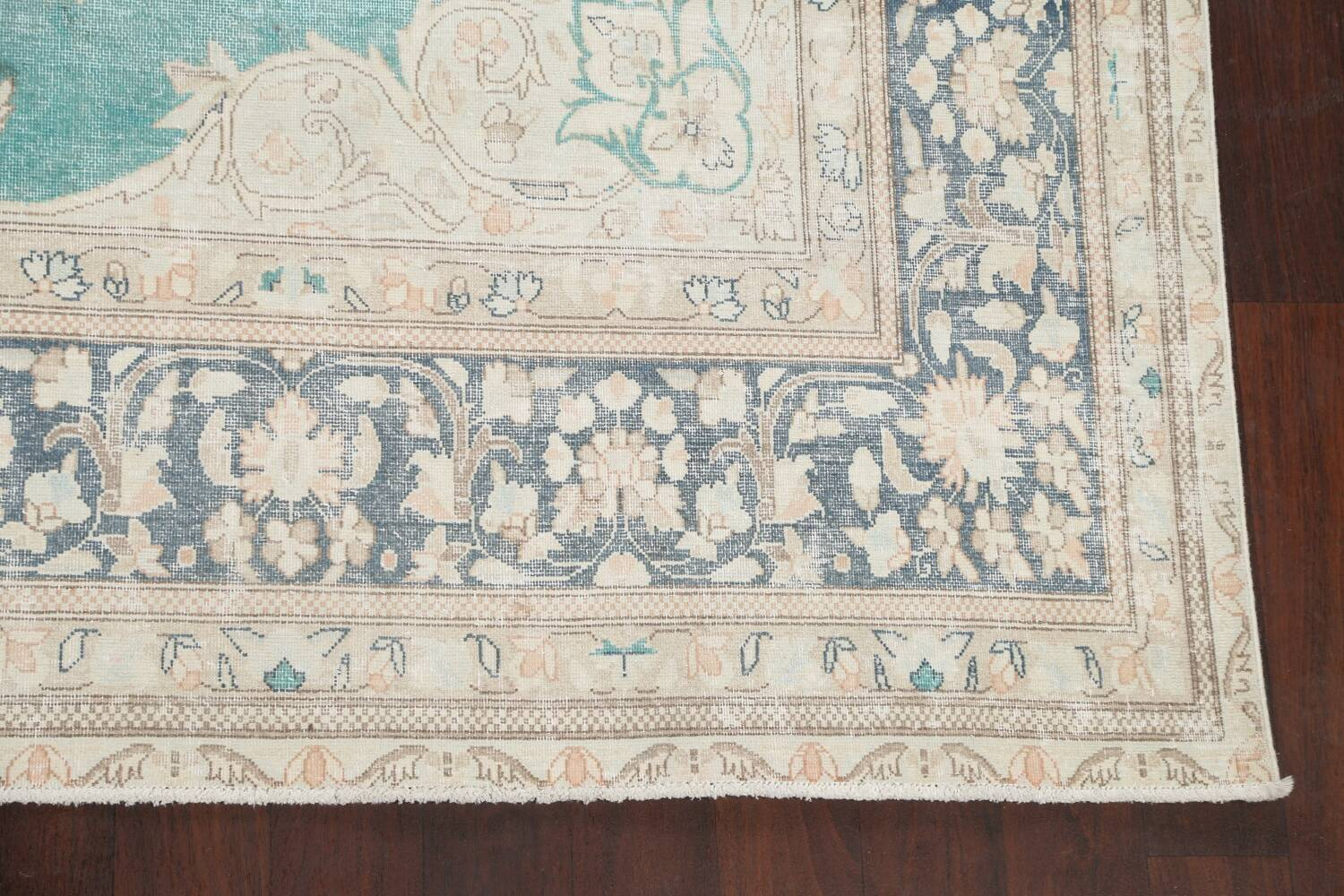 Muted Distressed Floral Kerman Persian Area Rug 8x11 image 5
