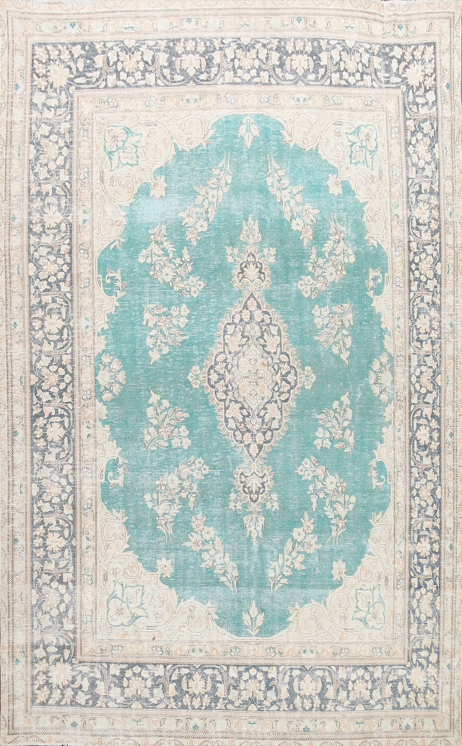 Muted Distressed Floral Kerman Persian Area Rug 8x11 image 1