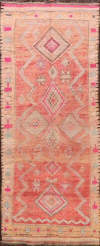 Antique Tribal Moroccan Oriental Area Rug 5x12
