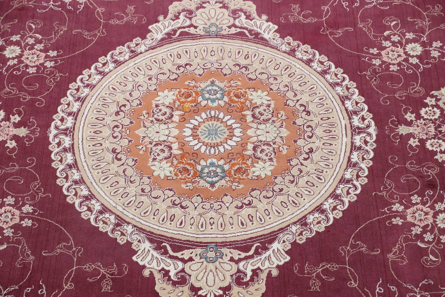 Floral Aubusson Oriental Area Rug 10x13 image 4