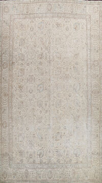 Distressed Floral Tabriz Persian Area Rug 11x15