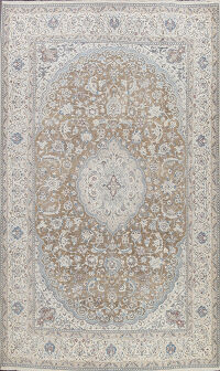 Muted Floral Nain Persian Area Rug 8x12