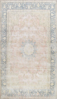 Distressed Floral Kerman Persian Area Rug 10x14