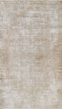 Muted Distressed Mashad Persian Area Rug 5x7