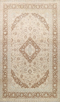Muted Distressed Floral Kashan Persian Area Rug 9x12