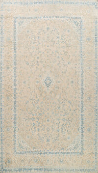 Muted Distressed Floral Kashan Persian Area Rug 8x12