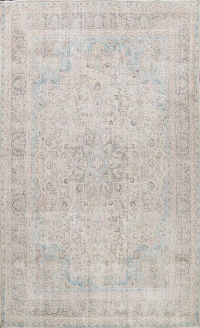 Muted Distressed Floral Mashad Persian Area Rug 9x12