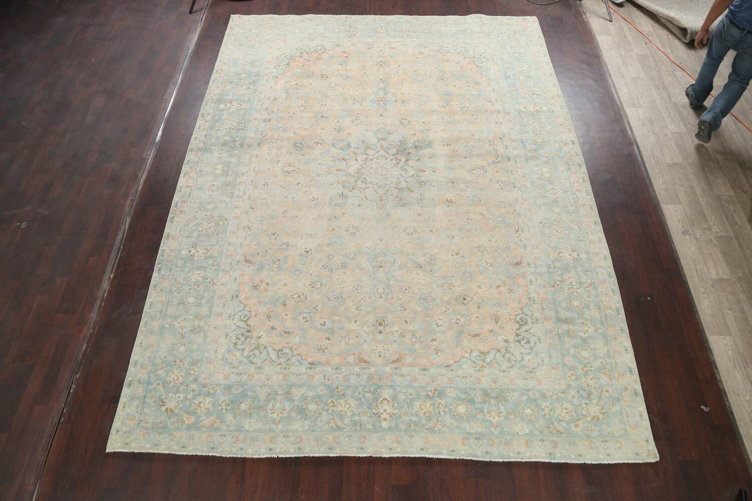 Muted Distressed Kashan Persian Area Rug 10x13 image 2