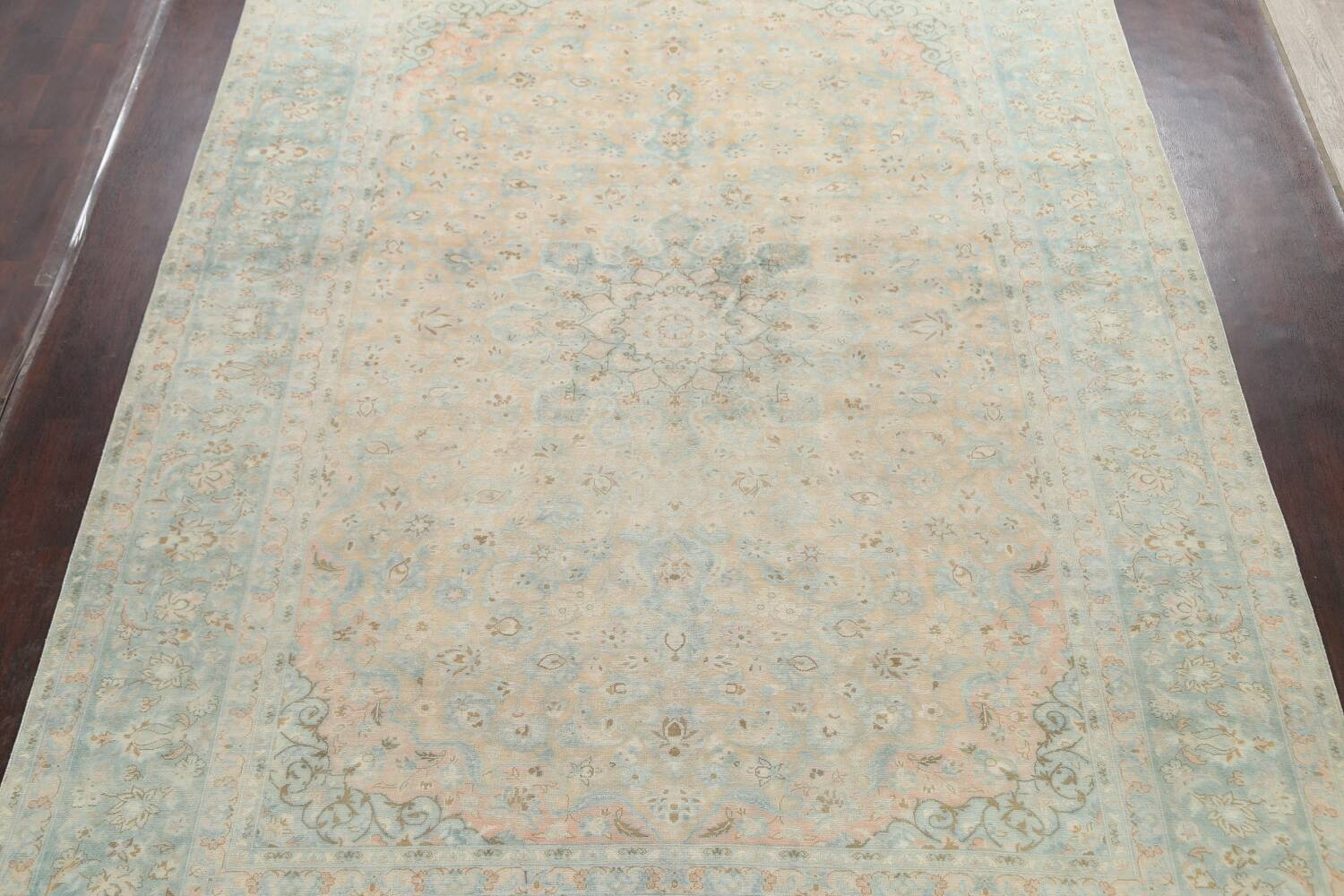 Muted Distressed Kashan Persian Area Rug 10x13 image 3