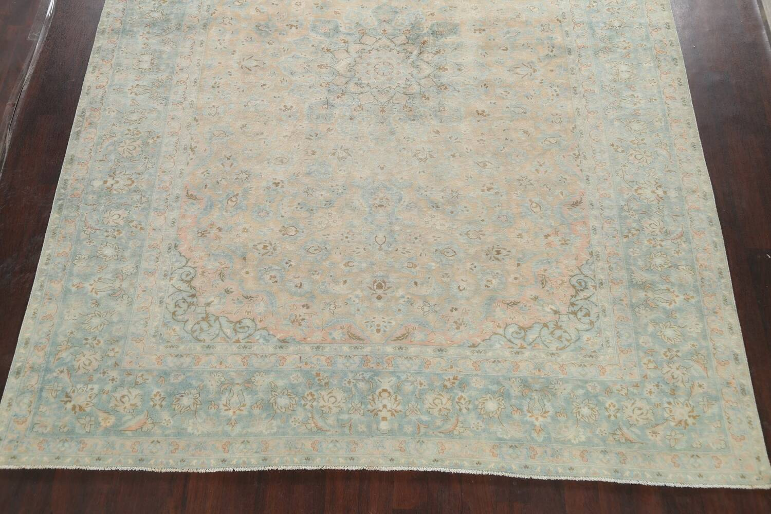 Muted Distressed Kashan Persian Area Rug 10x13 image 8