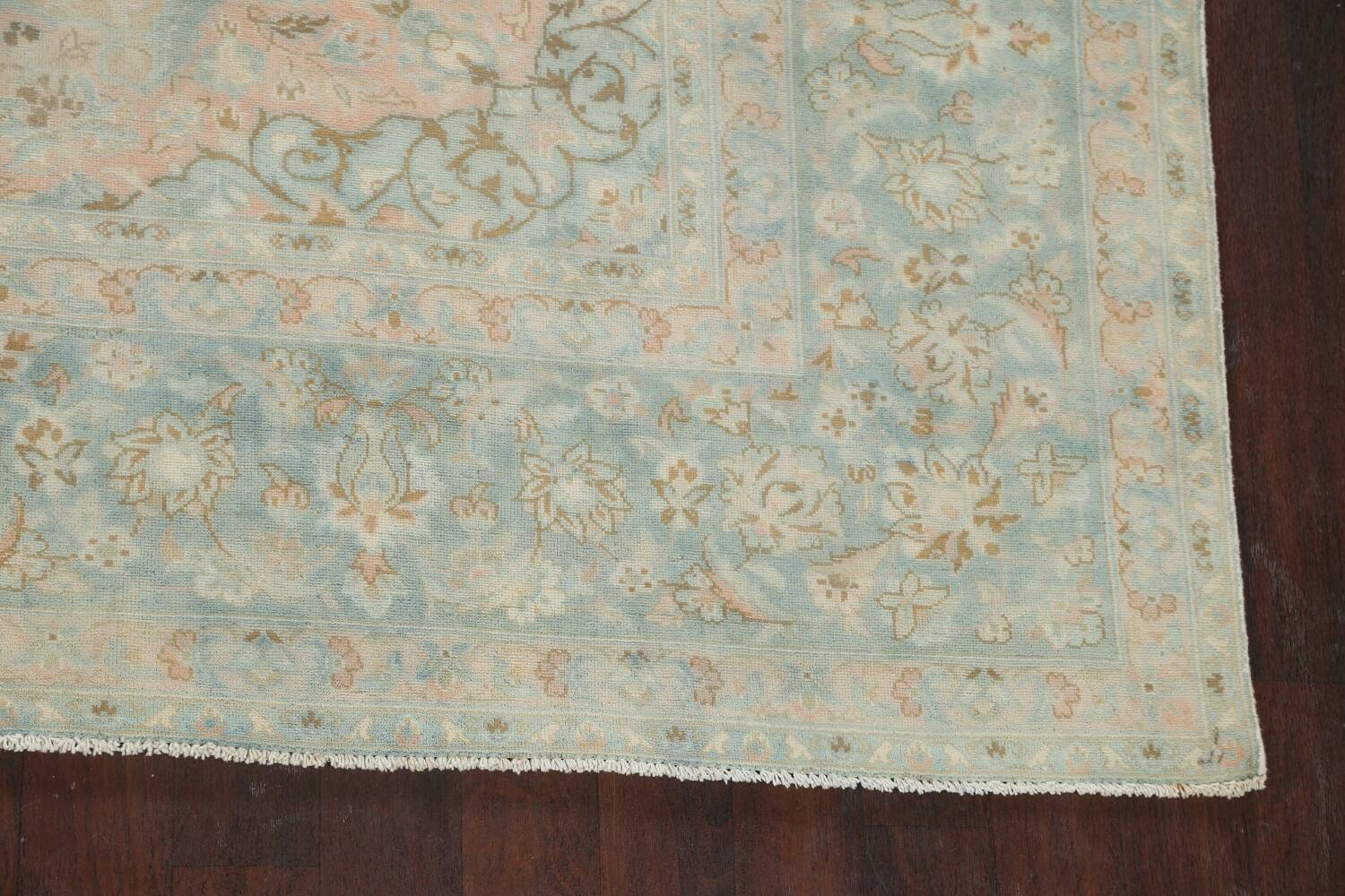 Muted Distressed Kashan Persian Area Rug 10x13 image 5