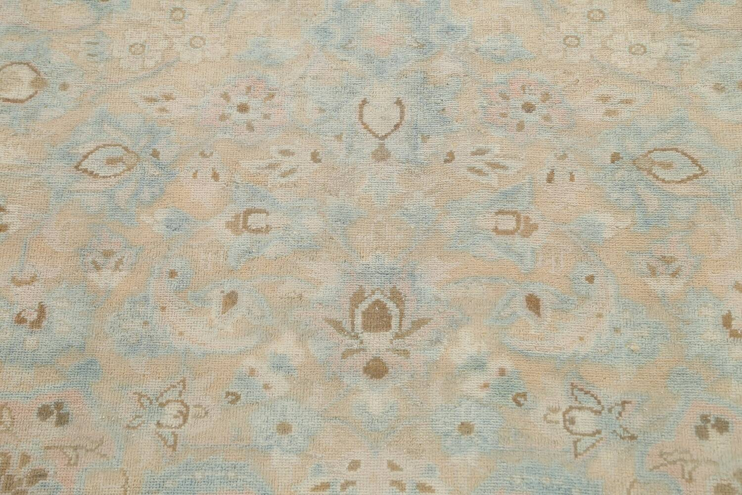 Muted Distressed Kashan Persian Area Rug 10x13 image 10