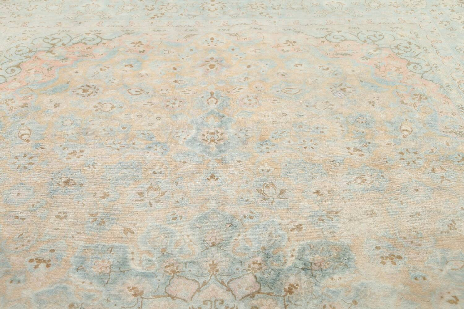 Muted Distressed Kashan Persian Area Rug 10x13 image 12