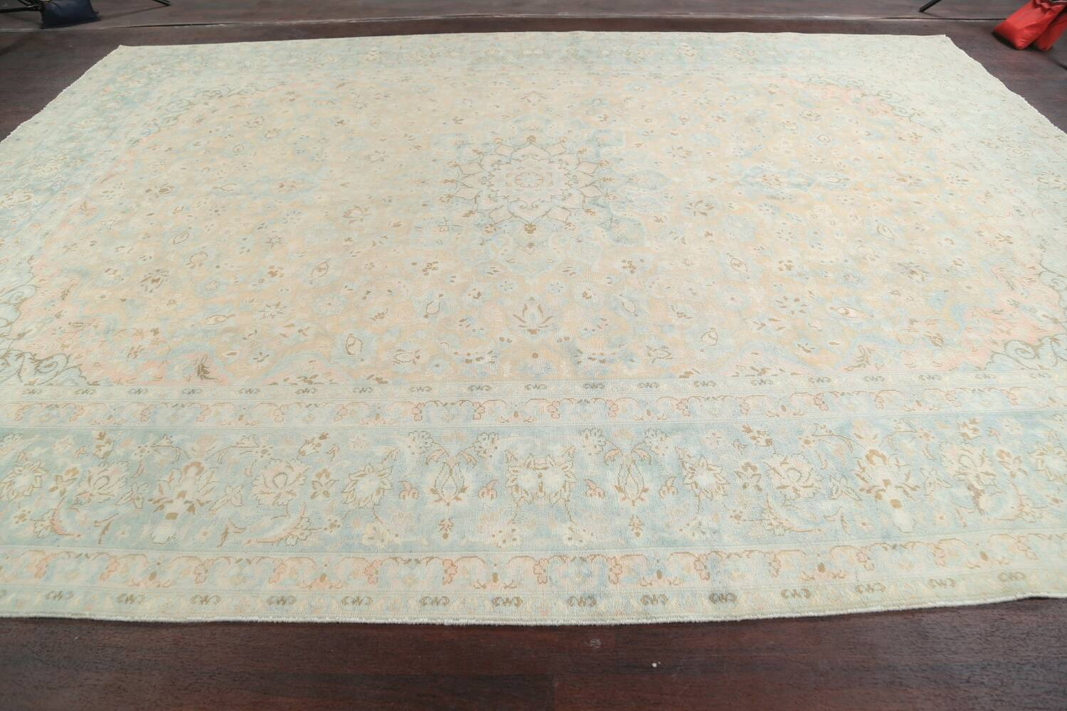 Muted Distressed Kashan Persian Area Rug 10x13 image 14
