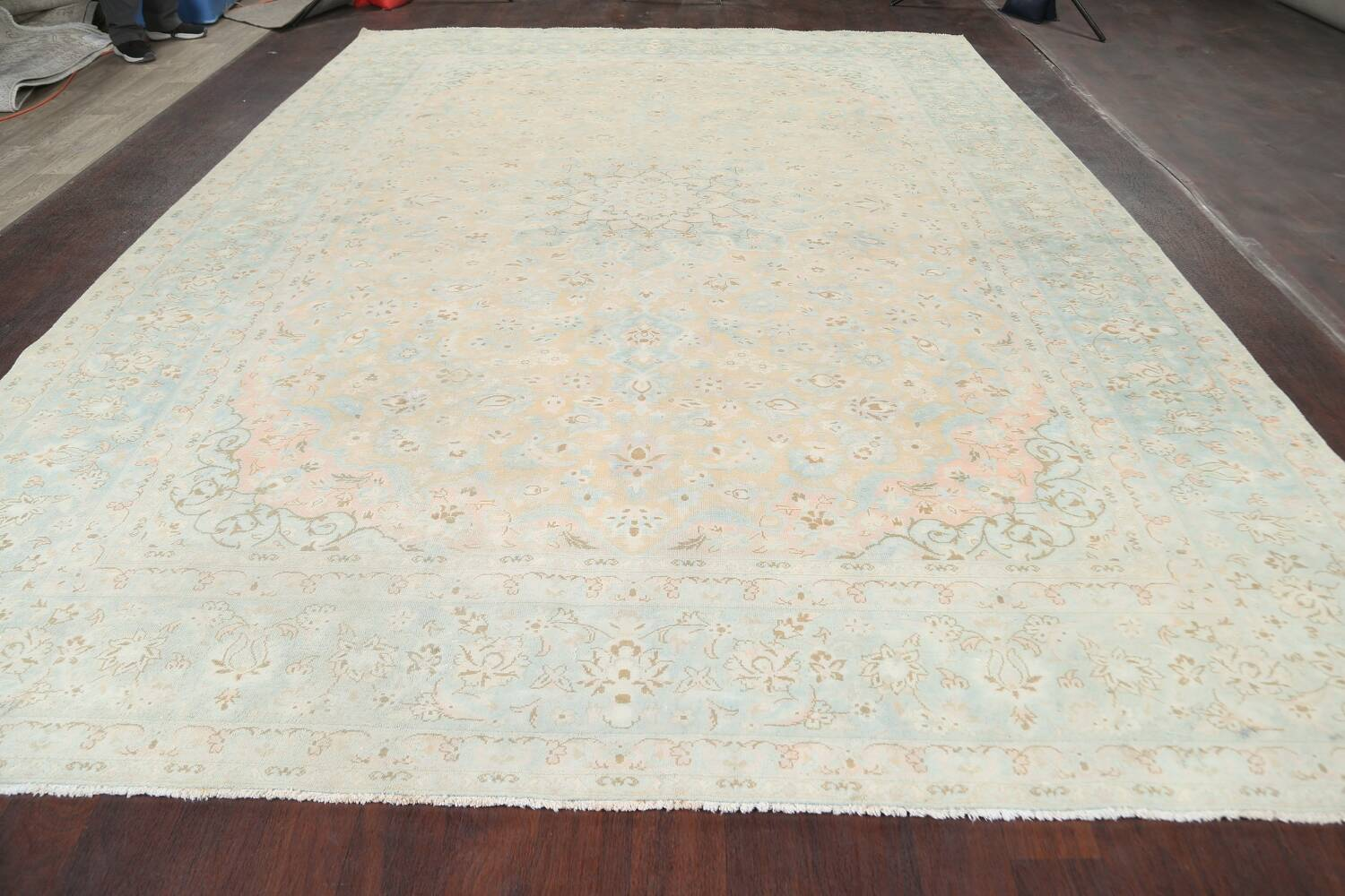 Muted Distressed Kashan Persian Area Rug 10x13 image 15
