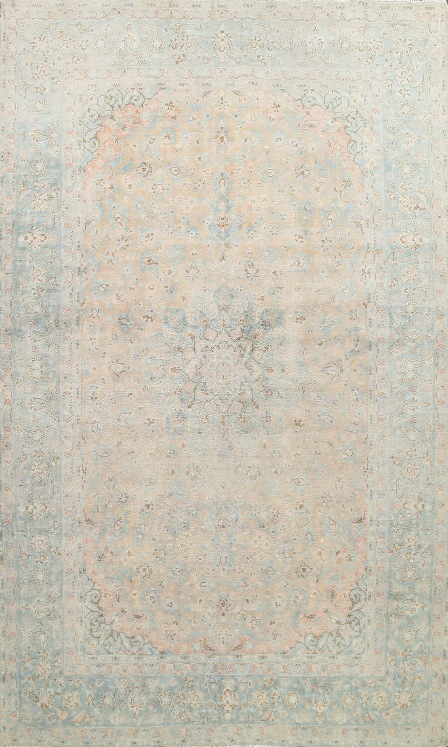 Muted Distressed Kashan Persian Area Rug 10x13 image 1