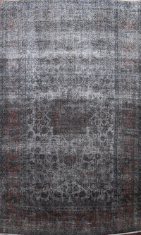 Over-Dyed Distressed Kashan Persian Area Rug 10x14