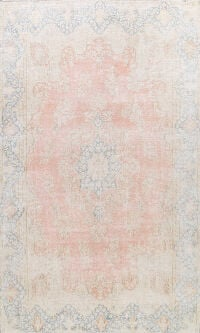 Muted Distressed Kerman Persian Area Rug 9x13