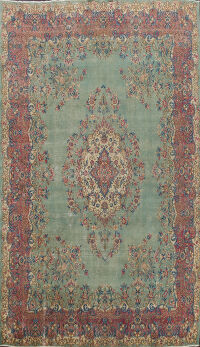 Floral Green Kerman Persian Area Rug 9x13