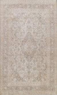 Muted Distressed Mashad Persian Area Rug 8x11